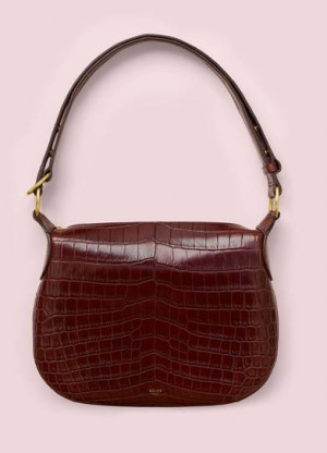 Celine Burgundy Crocodile Small Saddle Replica Bag