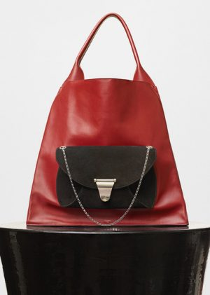 Celine Light Burgundy Medium Shopper Shoulder Replica Bag with Pocket