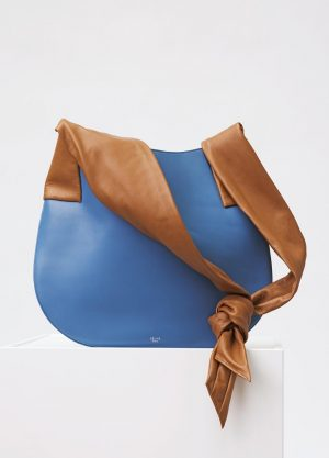 Celine Medium Blue Large Ribbon Shoulder Replica Bag