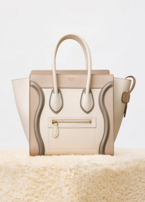 Celine Natural Multicolor Shiny Smooth Calfskin Micro Luggage Replica Bag