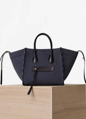 Celine Navy/White Textile Medium Luggage Phantom Replica Bag