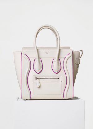 Celine White/Magenta Smooth Calfskin Micro Luggage Replica Bag