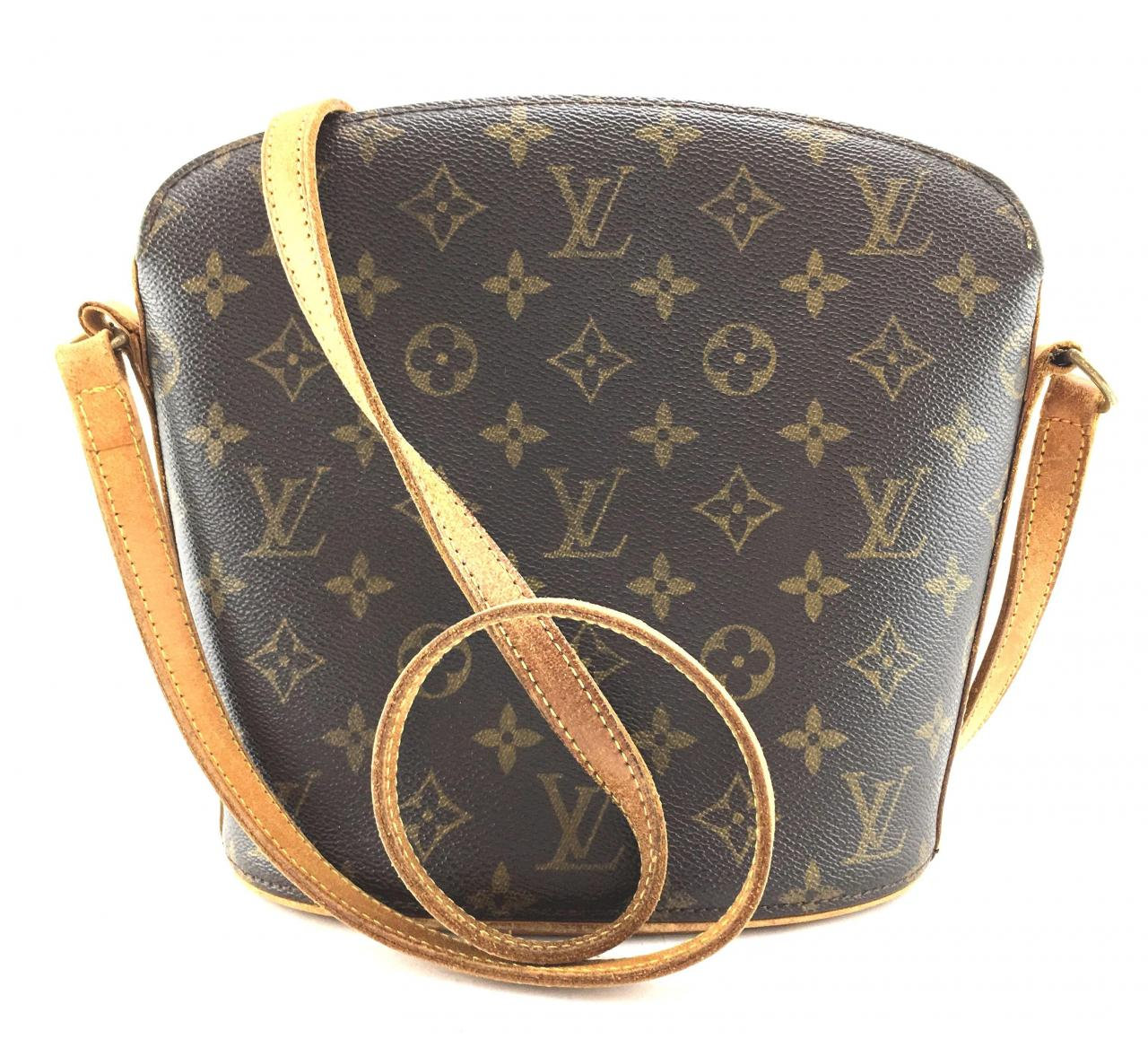 ac64d1f204af Grade 1 Replica Handbag Louis Vuitton Drouot  19133 Long Strap Shoulder  Monogram Canvas and Vachetta Leather Cross Body Bag